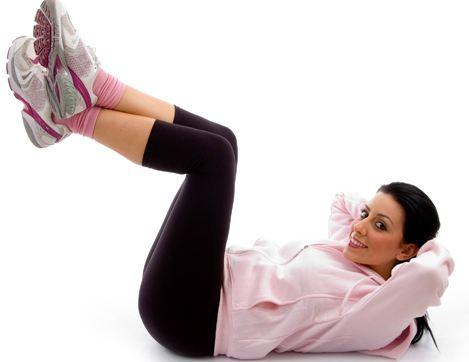 động tác giảm béo bụng Vertical Leg Crunch