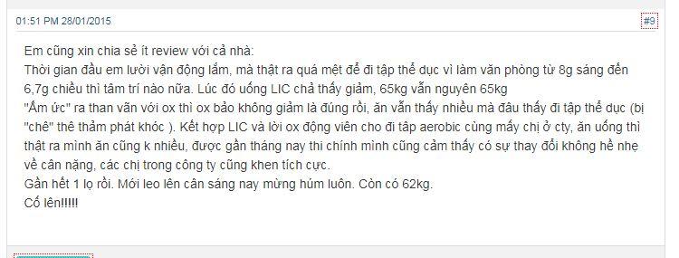 phản hồi của người dùng về thuốc giảm cân LIC