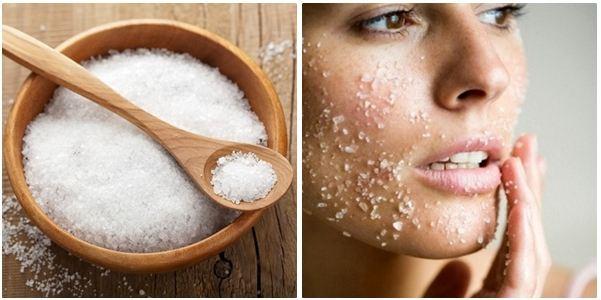 massage mặt với muối để giảm béo