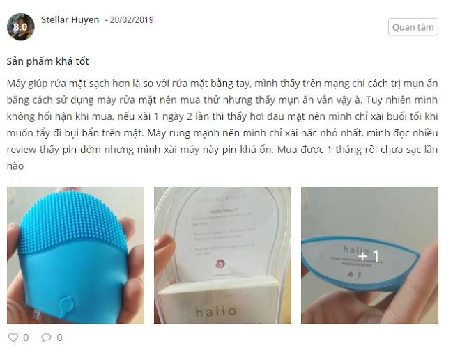 phản hồi từ phía khách hàng sử dụng máy rửa mặt halio 1
