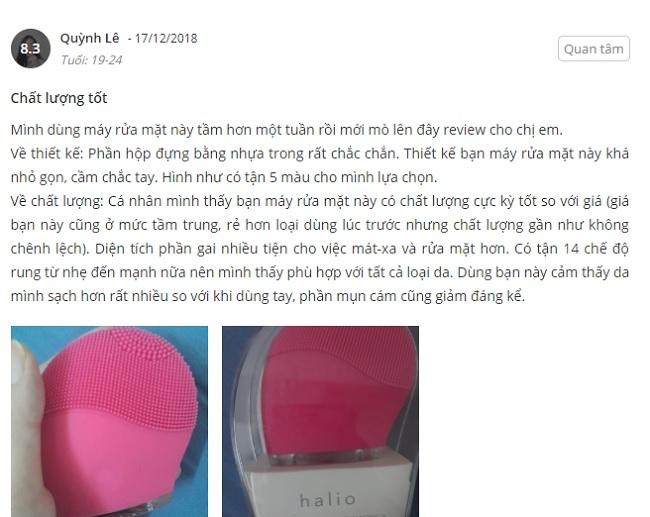 phản hồi từ phía khách hàng sử dụng máy rửa mặt halio 4