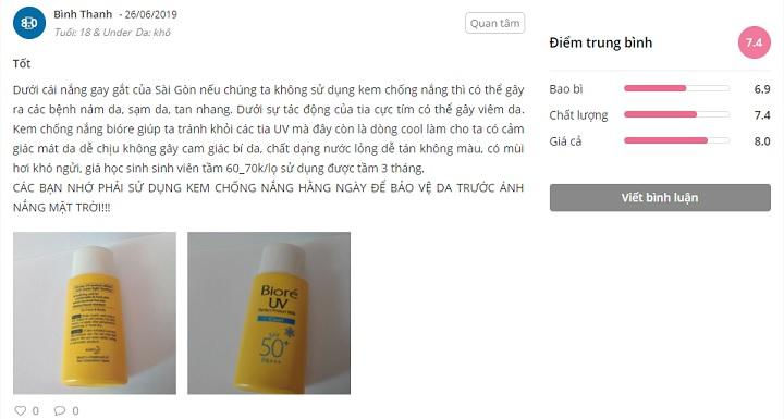 phản hồi từ phía khách hàng sử dụng kem chống nắng Biore UV Perfect Block Milk Cool